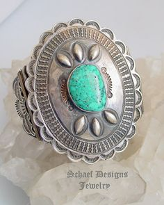 Vintage 1940's Pawn Concho Large Turquoise & Sterling Silver Cuff Bracelet ~ Schaef Designs New Mexico