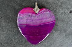 42mm Druzy Agate Pendant Fuchsia, Hot Pink Gemstone Heart Designer Gemstone Pendant 42x41x5mm Natural Stone Dyed Stone Rhinestone Bail by TheBeadBandit on Etsy