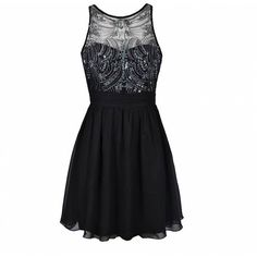 Ally Fashion Embellished bodice prom dress ($51) ❤ liked on Polyvore featuring dresses, vestidos, white strap dress, embellished prom dress, see through dress, white dress and prom dresses