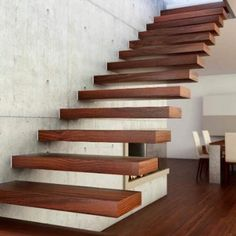 Advantages of Floating Stairs - Green and Minimalist Home Design For Healthy and Beauty Life Wooden Staircase Design, Home Stairs Design, Floating Staircase, Wooden Staircases, Home Interior Design, Interior Modern, Stair Design, Staircase Ideas, Spiral Staircase