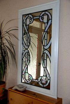 Art Nouveau style leaded mirror using white irridescent glass