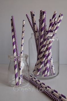 Paper Straw 24 Stripe/Polka Dot/Chevron Purple & by GleefulLand Bridal Shower Party, Bridal Shower Decorations, Baby Shower Parties, Purple Party, Purple Wedding, Samantha Wedding, Bridesmaid Duties, Diy Party, Party Ideas