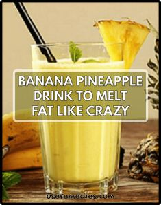 Banana Pineapple Drink To Melt Fat Like Crazy: The most simple way to loss weight that is beyond imagination. It will increase your metabolism very quickly and your body will burn calories in a magical Fruit Smoothie Recipes, Smoothie Drinks, Healthy Smoothies, Healthy Drinks, Healthy Food, Healthy Shakes, Healthy Habits, Diabetic Drinks, Nutribullet Recipes