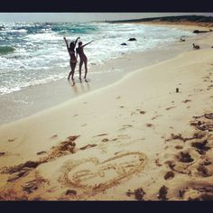 Beach besties!!  Cute sand picture idea with bestfriend!!