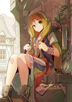 Anime picture 724x1024 with original tomioka jirou long hair single tall image looking at viewer blonde hair green eyes sitting holding braid (braids) pleated skirt bent knee (knees) twin braids outdoors street girl skirt hair ornament bracelet