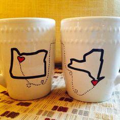 Long distance Relationship Coffee Mugs by MollysHandmadeGifts, $23.99