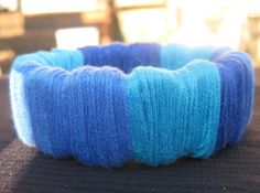 Blue Embroidery Floss wrapped interesting shaped Wooden Bangle