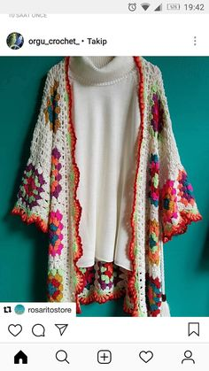 Crochet Knit Poncho Granny Squares Ideas For 2019 Crochet Baby Sweaters, Crochet Jacket, Crochet Cardigan, Crochet Shawl, Crochet Clothes, Knit Crochet, Crochet Girls, Love Crochet, Crochet Granny