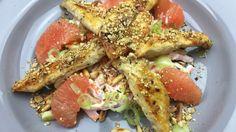 Gegrillte Hühnerstreifen mit Dukkah Topping und Möhren-Grapefruitsalat ...