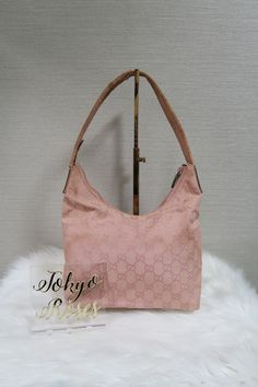 4f003703122 Pink Gucci GG Monogram Canvas Bag Beige Leather Strap