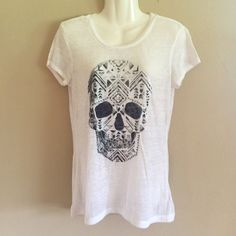Express Skull Top Worn twice - excellent condition w/ minimal pilling because of material - thinner material, but always got compliments when worn Express Tops Tees - Short Sleeve