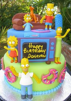 The Simpsons Cake - The Simpsons Party Crazy Cakes, Fancy Cakes, Cute Cakes, Unique Cakes, Creative Cakes, Bolo Simpsons, Gateaux Cake, Different Cakes, Character Cakes