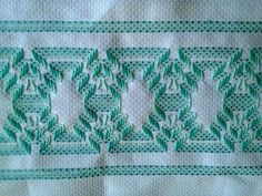 Discover thousands of images about Swedish Weaving Huck Weaving Embellished Tea by FuzzyDuckCreations Swedish Embroidery, Towel Embroidery, Hand Embroidery Stitches, Cross Stitch Embroidery, Embroidery Patterns, Crochet Patterns, Swedish Weaving Patterns, Chicken Scratch Embroidery, Monks Cloth