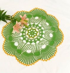 Green Crochet lace Doilies Openwork Patterns by DoliaGalinaCrochet