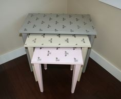 French Linen, Country Grey and Antoinette Chalk Paint®  Royal Design Bee stencil in silver