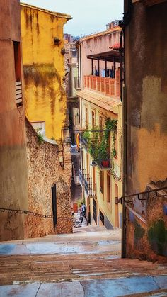 Bike Cafe On A Lane In Girona Art Print by Joan Carroll.  #BikeCafe popular with #cyclists! All prints are professionally printed, packaged, and shipped within 3 - 4 business days. Choose from multiple sizes and hundreds of frame and mat options.