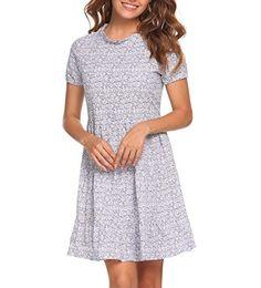 dc17f3f813 Maya Brooke Women s 3 4 Sleeve Floral Printed Swing Fit and Flare Mini Dress  Sundresses