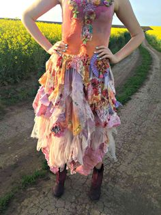 Bohemian Upcycled long  skirt boho chic gypsy fairy skirt mori girl shabby chic altered couture one of a kind skirt
