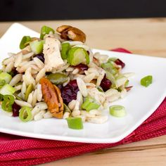 Chicken, Cranberry, Pecan and Orzo Salad with a Lemon Vinaigrette Orzo Salad Recipes, Healthy Pasta Salad, Healthy Pastas, Healthy Food, Healthy Recipes, Lemon Vinaigrette, English Teachers, Pot Luck, Dried Cranberries