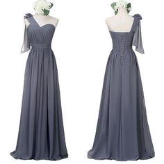 Chiffon long dark gray one shoulder bridesmaid dress lace up affordable wedding guest dress, fs565