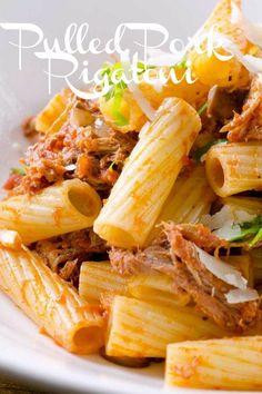 Pulled Pork Pasta, Smoked Pulled Pork, Pulled Pork And Noodles Recipe, Roast Pork Pasta, Pasta With Pork, Pull Pork, Pork Casserole Recipes, Rigatoni Recipes, Quiche Recipes