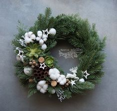 Christmas Cotton Front Door Wreath Succulent Xmas Wreath Gift for Mom Forest Wreath Fall Outdoor Win Xmas Wreaths, Wreath Fall, Wreaths For Front Door, Door Wreaths, New Years Decorations, Christmas Decorations, Cotton Wreath, Succulent Wreath, Handmade Christmas