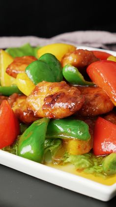Recipe with video instructions: how to make sweet and spicy chicken ingredients: 300 grams chicken breast, red bell pepper, yellow bell pepper, Sweet And Spicy Chicken, Spicy Chicken Recipes, Asian Recipes, Healthy Recipes, Easy Cooking, Cooking Recipes, Food Dishes, Stuffed Peppers, Dinner