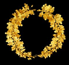 """fuckyeaharchaeology: """" Hellenistic Gold Wreaths In Ancient Greece, wreath crowns were given as prizes to the victors of athletic and artistic competitions. The wreaths were often made from the branches of Laurel, Myrtle, Oak, and Olive Trees. These..."""