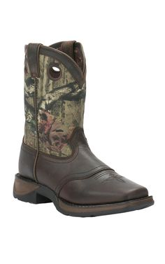 Durango Youth Distressed Brown with Camo Top Square Toe Western Boots | Cavender's
