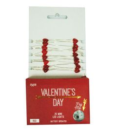 Valentine's Day 25 Count Heart Mini LED Lights-Red