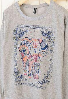 Folk Style Leisure Elephant Print Sweatshirt