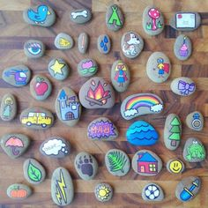 Hand Painted Story Stones Standard Set 20 by TheSweeterSideMom these would be fun for creative center play! Pebble Painting, Pebble Art, Stone Painting, Diy Painting, Cactus Painting, Pumpkin Painting, Food Painting, Painting Tutorials, Diy And Crafts