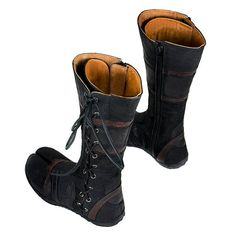 Midnight Black and Antique Brown Ayyawear Spiral Tabi Boots - Steampunk Renaissance Ayyawear Antique Verillas on Etsy, $279.54