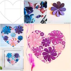 How to Make Easy Paper Heart Flower Wall Art | www.FabArtDIY.com