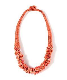 Candy Stone Collar Necklace - Neon Orange  $10.50