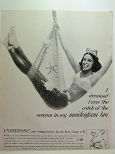 1964 MAIDENFORM BRA I Dreamed I ws the Seasons CATCH Scuba Diver Girl vintage Ad