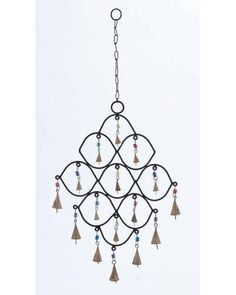 Metal Wind Chime with Colorful Beads -  With nine bells hanging inside the curves and seven bells attached to its lower end, this wind chime certainly looks gorgeous. Its provided with a long chain link, and you can hang this wind chime at any desired place. Trendy and modern, this decoration piece is sure to enliven your living space with great beauty.