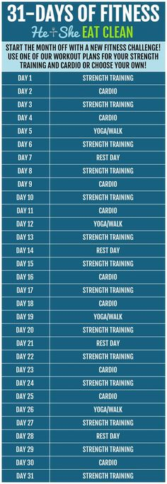 Start the month off with a new fitness challenge! Try this 31 Days of Fitness Strength Training and Cardio Challenge! This 31 day plan can be used #monthly with our workouts or your own! Get your #fullbody in gear by alternating cardio and strength training. Tone your #abs, flatten your #belly, and build those #arms and #booties.