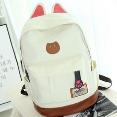 Cute Cat Ears Solid Color School Backpack Canvas Bag