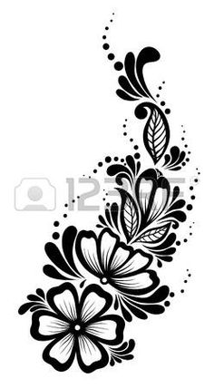 Krásný Květinový Vzor, designový Prvek Ve Starém Stylu Royalty Free Kliparty, Vektory A Ilustrace. Stencil Patterns, Henna Patterns, Stencil Designs, Embroidery Patterns, Hand Embroidery, Stencils, Stencil Art, Rosen Tattoos, Black And White Flowers