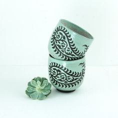 Paisley Teacups, Handmade in Seafoam Green by Foxtail Pottery, Seattle.  Boho, Rustic, Folk