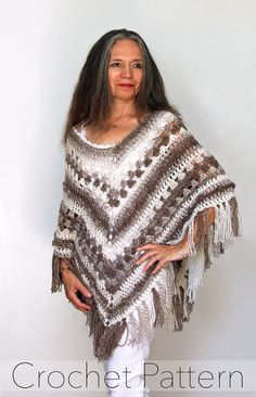 "Crochet Poncho PATTERN / Striped Wrap / Made in Canada / ""Bella Ombre Poncho"""