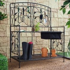 Coral Coast Willow Creek Metal Potting Bench - Black