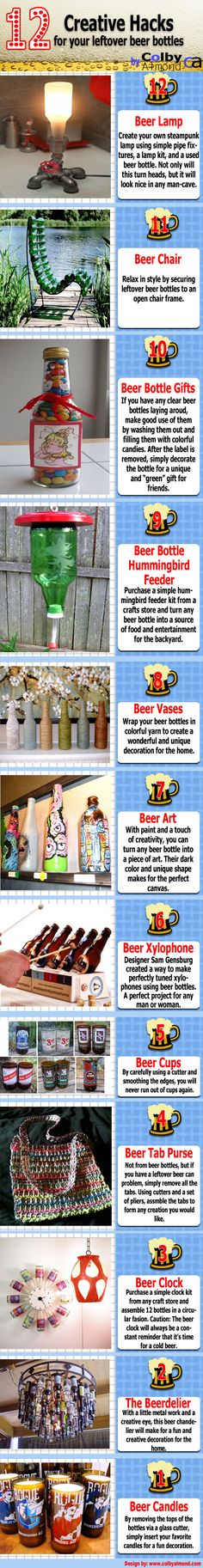 12 creative DIY projects for beer or other bottles. In my case, it would be other. :) Cute ideas for old fashioned or new root beer or cola bottles.