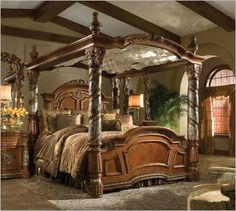 Villa Valencia 72015-BED Canopy Bed | Michael Amini.....THIS would do nicely