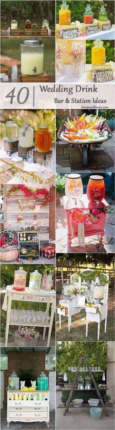 rustic country wedding drink bar / http://www.deerpearlflowers.com/wedding-drink-bar-station-ideas/2/
