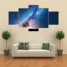 Trees Against Starry Sky With Milky Way Multi Panel Canvas Wall Art #wallart #planetswallart #astronomy#planets#walldecor #homedecor #panelpainting #5piece #4piece #3piece #1piece #bigmountains #mountainsart #bigwallart #treesagainststarry #canvas