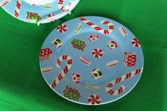 """Set of 2 Christmas Candy on Blue  9"""" Unbreakable Melamine Snack Plates"""