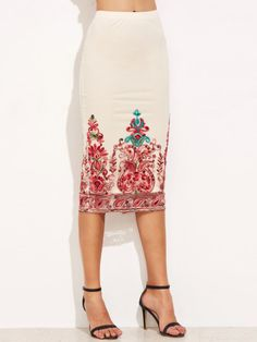 8f25a90dc7 White Embroidered Mesh Overlay Pencil Skirt – The Style Syndrome