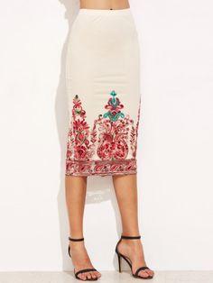 Falda de tubo con bordado y malla-Sheinside                                                                                                                                                                                 Más